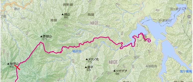 松茸山~大平~姫次までの登山ルートの区間