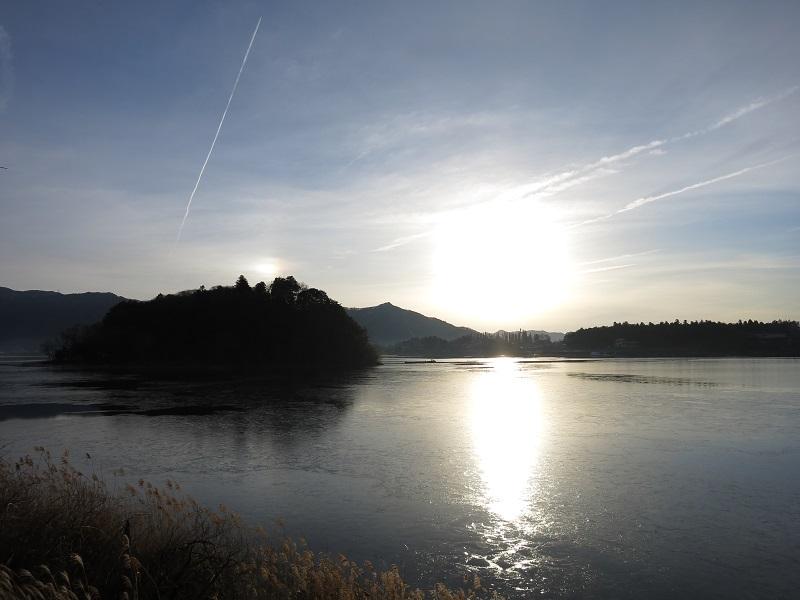 ご来光と河口湖の夢のコラボ