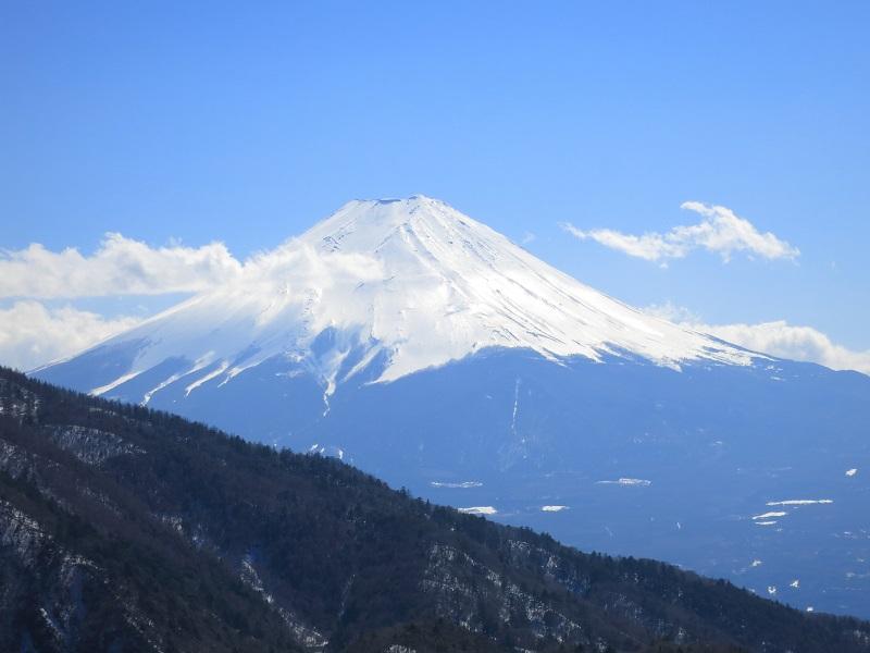 本社ヶ丸登山中の富士山景色