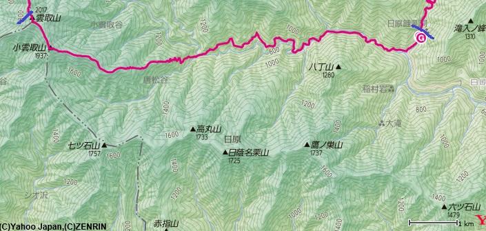 日原鍾乳洞から出発し、野陣尾根(富田新道)~小雲取山~雲取山までの区間