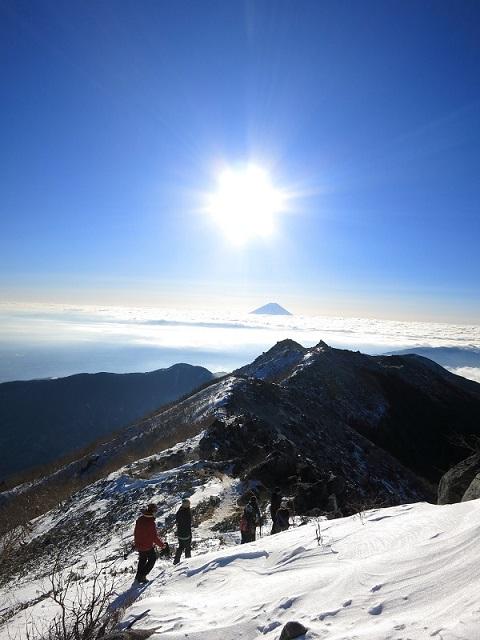 厳冬期鳳凰三山からの眺め