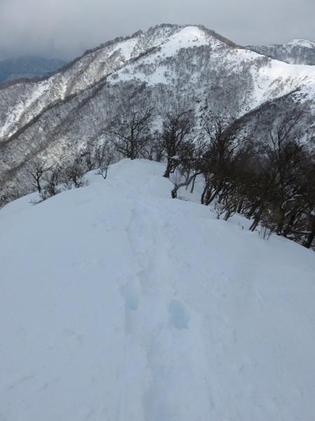 大雪のため不動ノ峰まで登れなかった