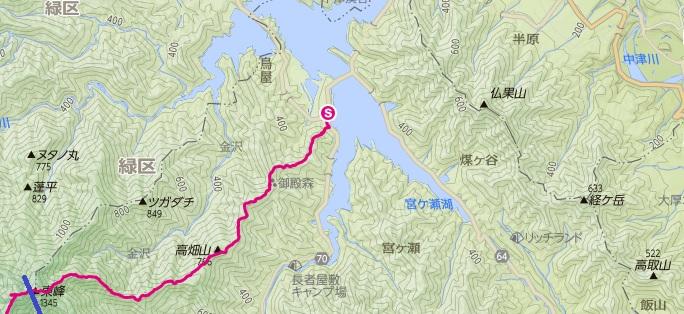宮ヶ瀬湖から入山し、丹沢三峰本間ノ頭まで歩いた前編の登山ルート