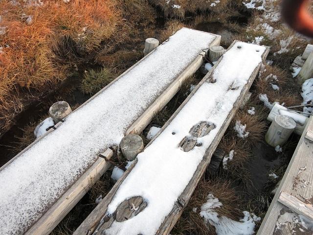 平ヶ岳の登山道と積雪に足跡