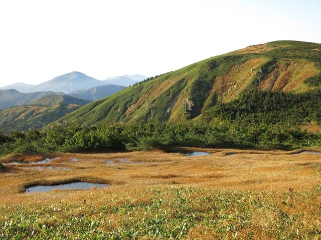 右のピークが平ヶ岳で真ん中奥が至仏山景色