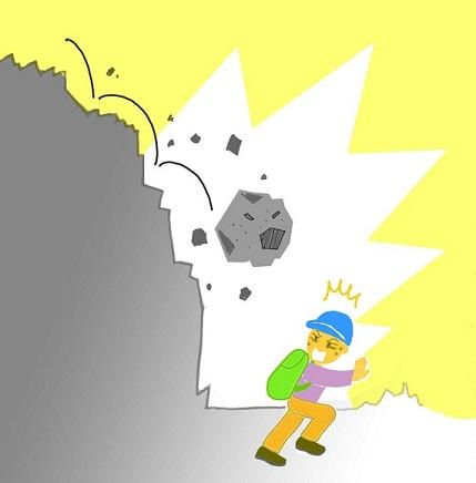 登山中落石