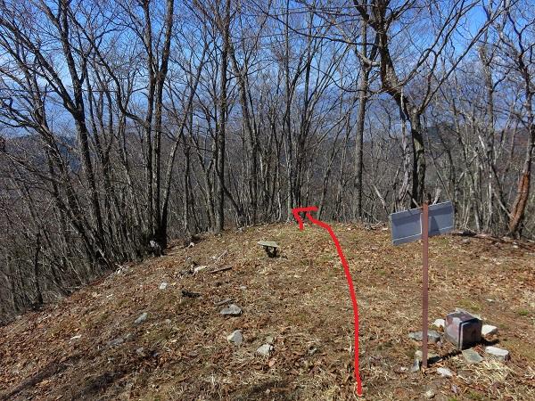 釈迦ヶ岳の山頂から赤矢印方面山と高原に記載されているグレー線入口