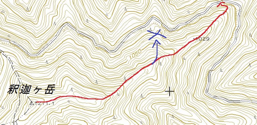 釈迦ヶ岳周辺の国土地理院の地形図