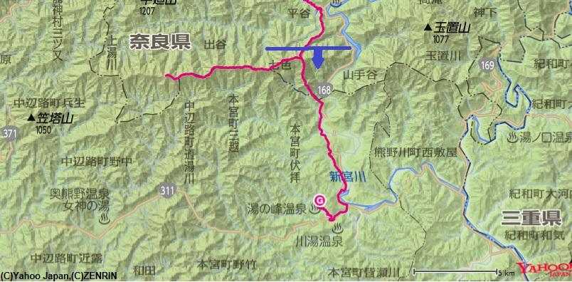 観音堂から出発し、果無山脈縦走して冷水山~熊野本宮大社川湯温泉でテント泊