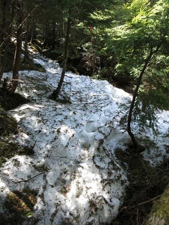 黒金山直下から雪と凍結