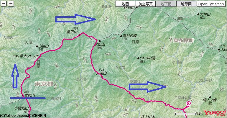 雲取山~芋ノ木ドッケ~長沢背稜~天祖山~日原鍾乳洞のルート