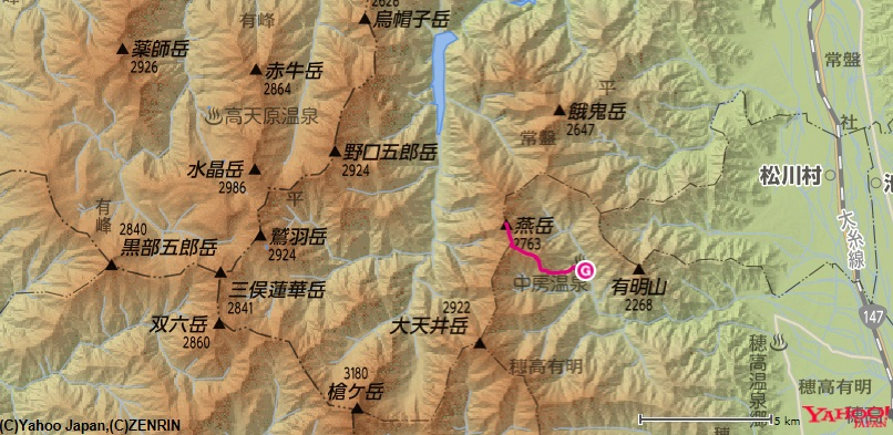 燕岳登山のコース・標高差中房温泉~合戦小屋~燕山荘
