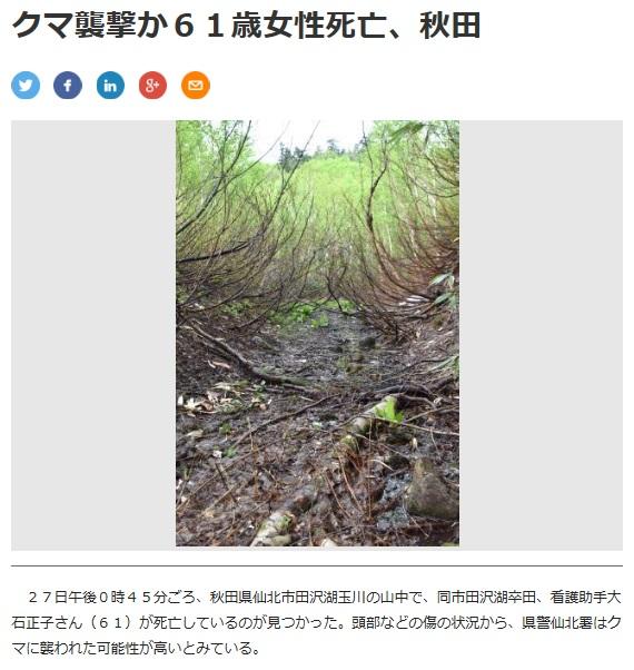 秋田県仙北市熊襲撃事故詳細