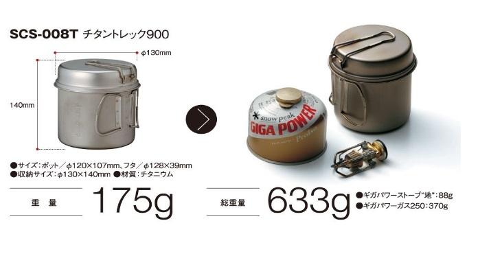 スノーピークから発売されている、ガスバーナーとガス缶のセット重さ