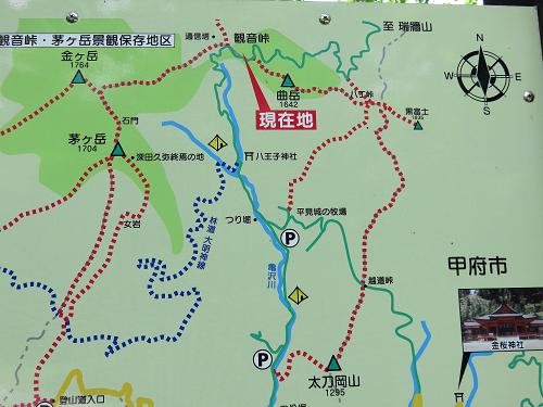 曲岳・黒富士・太刀岡山の周辺地図