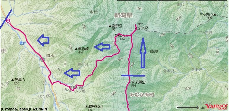 牛首山~巻機山~巻機山登山口までのルート