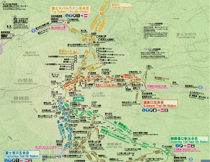 富士登山のコースと登山口