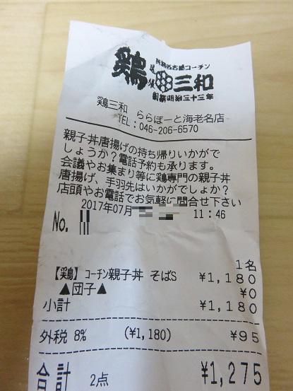 名古屋コーチン親子丼・蕎麦セット領収証
