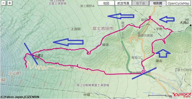 道の駅すばしり~矢筈山~大根山~小富士までの登山区間