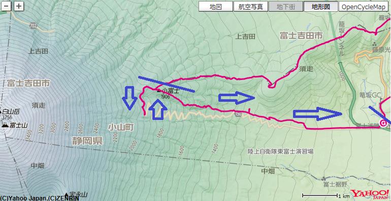 小富士~須走口五合目~グランドキャニオンの登山ルート
