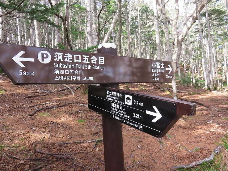 須走口五合目と富士山へ分岐道標