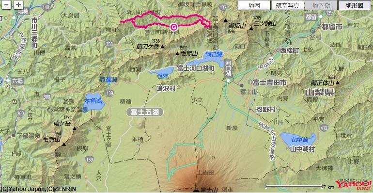 滝戸山・春日山等の山域は、富士五湖