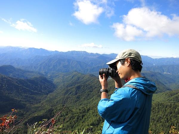カメラ登山者撮影