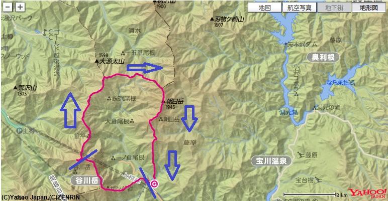 谷川岳馬蹄形コース・高低差(武能岳~蓬ヒュッテ~朝日岳~白毛門)