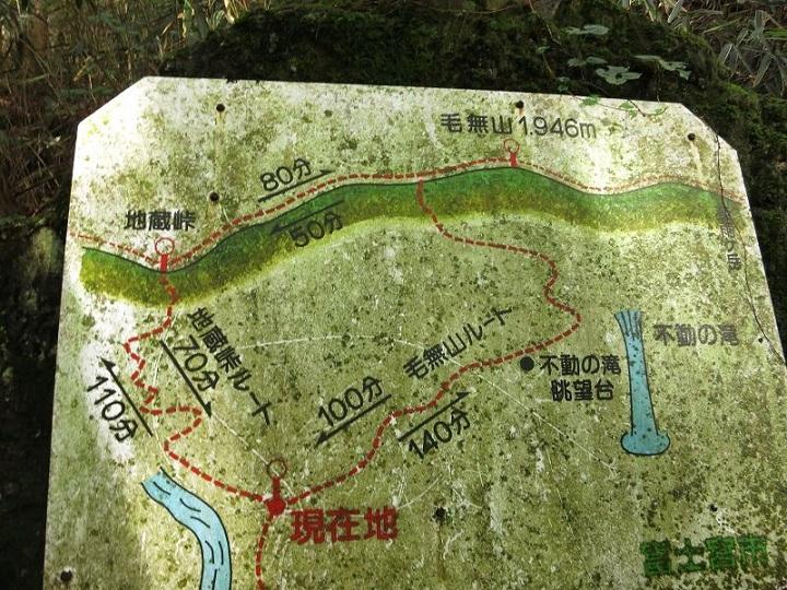 毛無山登山ルートと、地蔵峠ルートの分岐