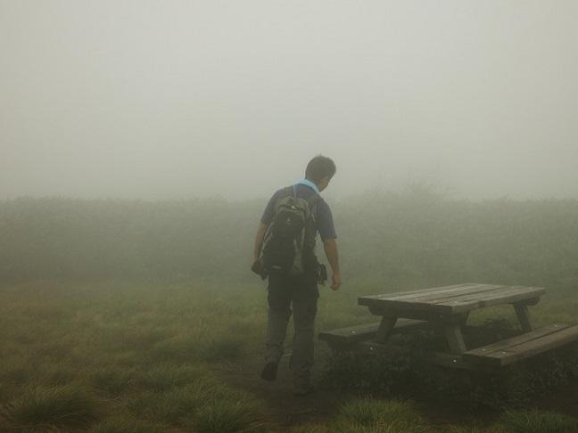 竜ヶ岳山頂とガスの世界