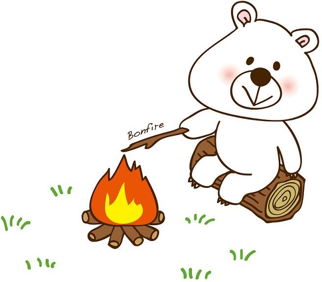 焚き火している太った熊