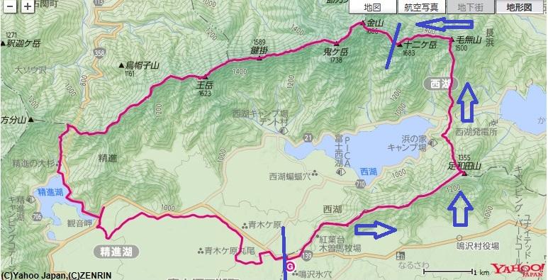紅葉台~足和田山~毛無山~十二ヶ岳までの登山ルート
