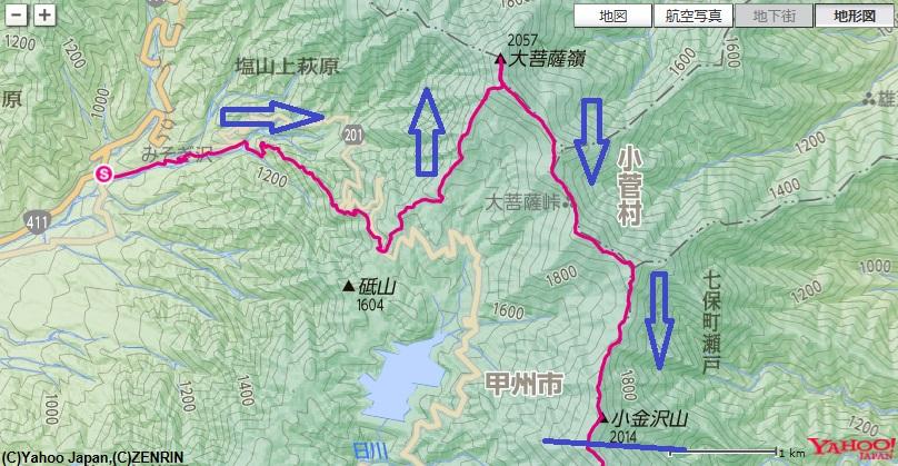 上日川峠~福ちゃん荘~大菩薩嶺~大菩薩峠~熊沢山~小金沢山までの登山ルート