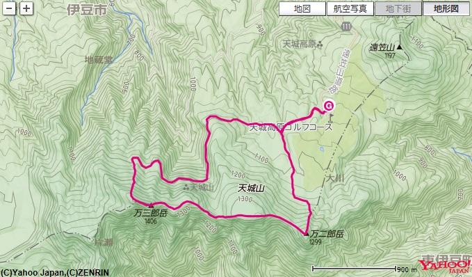 天城山(万次郎岳・万三郎岳)を歩いた登山ルートの地図