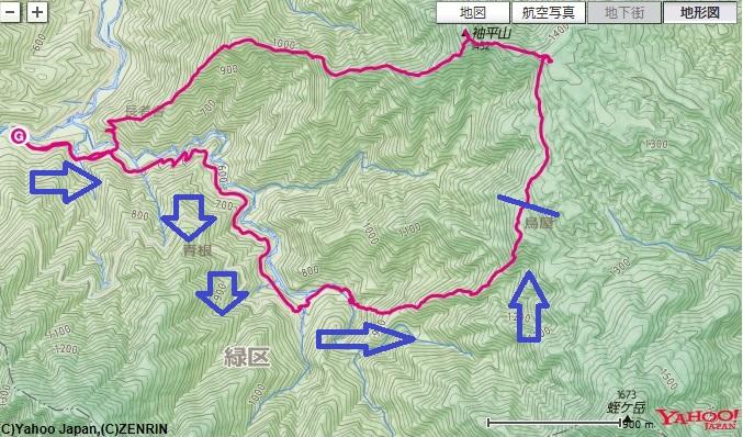 神ノ川ヒュッテ~地蔵尾根の登山ルート