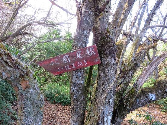 地蔵平にある地蔵尾根の案内道標