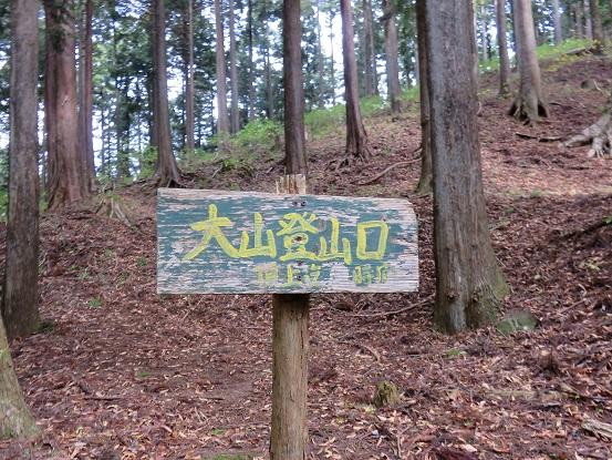 大山登山口の看板