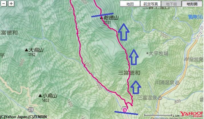 乾徳山登山口から道満尾根ルートで、道満山~髭剃岩~鳳岩~乾徳山までの登山ルート