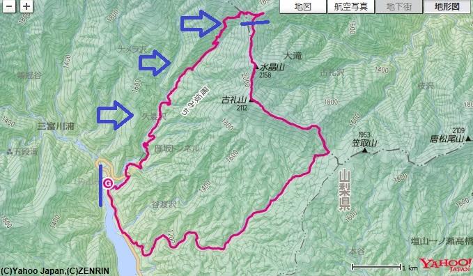 道の駅みとみ~沓切沢橋~雁坂峠~雁坂小屋の登山ルート