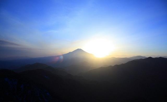 丹沢富士山と日没