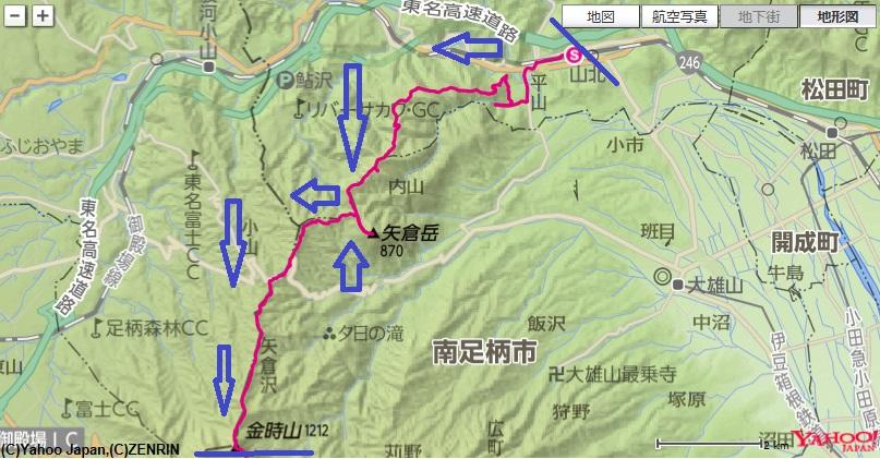 山北駅~洒水の滝~鳥手山~矢倉岳~金時山の登山コースと標高差