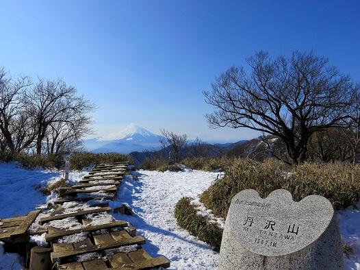 栂立尾根から丹沢山富士山の景色