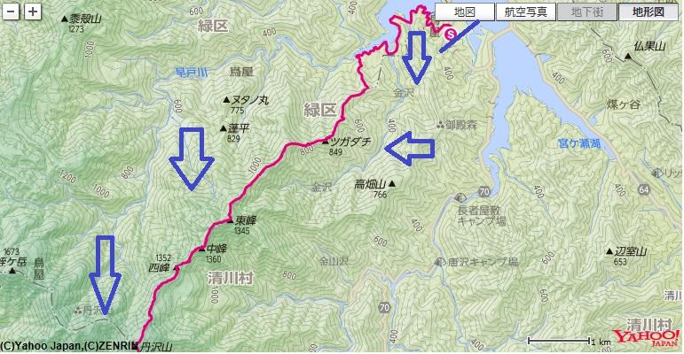 栂立尾根登山のコースと、コース標高差