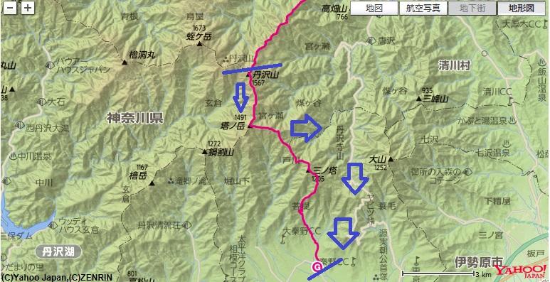コース・標高差丹沢山・塔ノ岳・表尾根・二ノ塔尾根コース