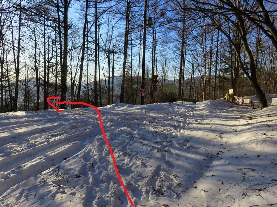 天上山は林道赤矢印付近に進む