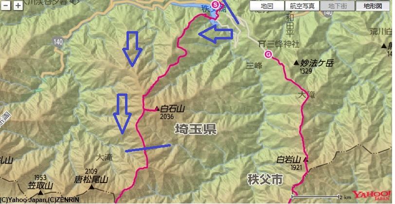 和名倉山登山のルートと標高差の地図