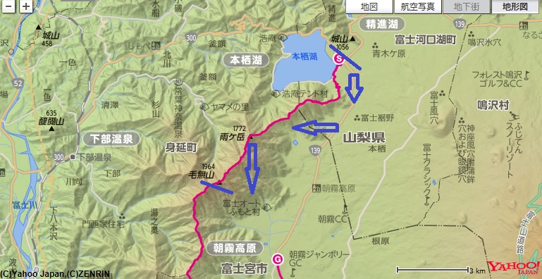 コース・標高差天子山地・毛無山・雨ヶ岳