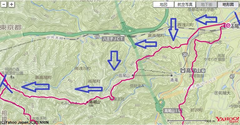前編の高尾山への登山コース