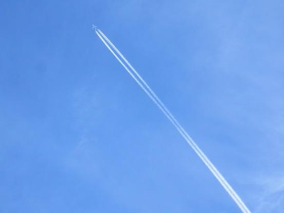 陣馬山の山頂から見る飛行機雲