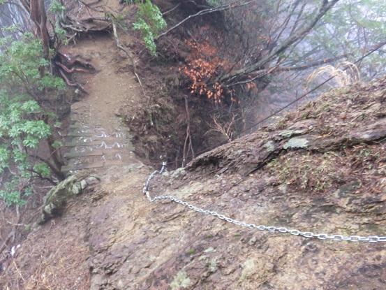 雨で岩場が濡れている